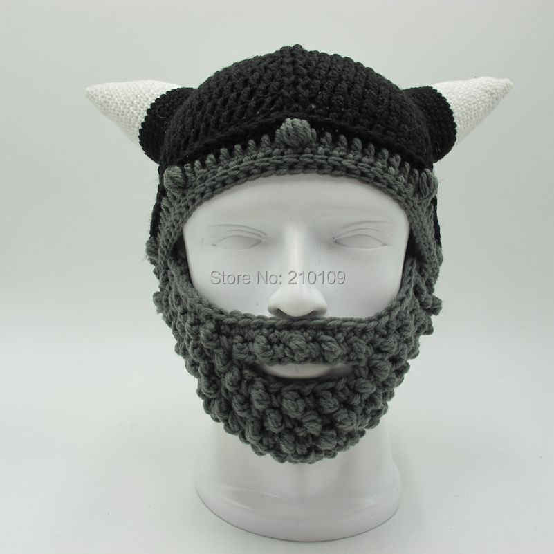 321dabe53dc ... Mr.Kooky Men s Vikings Helmet Hat Horn Beard Gorro Fancy Dress Handmade  Knit Winter Cap ...