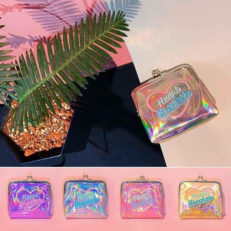Monedero Bentoy con holograma láser de PVC, Mini monedero brillante con aro, carteras de moda para niñas, novedad en carteras para mujer, estuche de maquillaje
