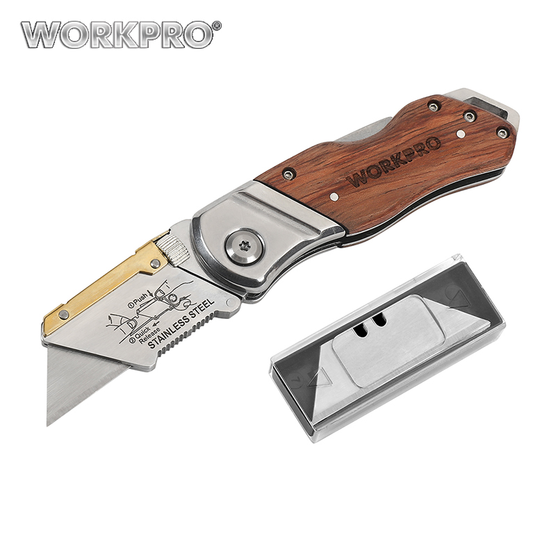 WORKPRO Folding Knife Pipe Cutter Pocket Knife Wood Handle Knife with 10PCS Blades portable eyebrow knife with two blades
