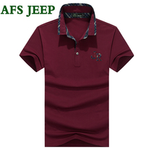 AFS JEEP Summer Mens Polo Shirt Brands Solid Polo Shirts Clothing Letter Short Sleeve Fashion Embroidery Polo Shirt Men Dress 50