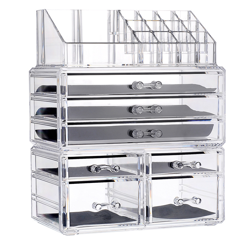 New Clear Acrylic Makeup Organizer Large Capacity Storage Box Lipstick Holder Drawers Make Up Organizer Cosmetic