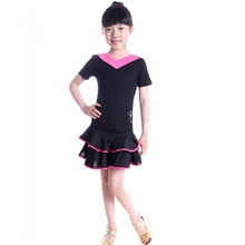 Child Latin Dance Clothes Girl V Collar Fringe Dress