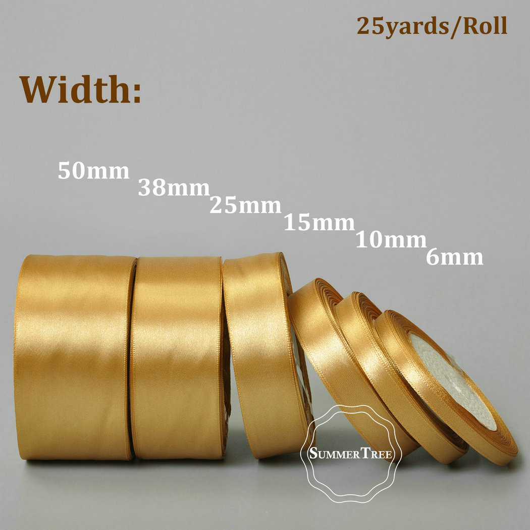 HTB1bsRcl8smBKNjSZFFq6AT9VXaX Gold 25yards 6mm 10mm 15mm 25mm 38mm 50mm Satin Ribbon Sash Gift Bow Handmade DIY Craft Wedding Party Supply Banquet Decoration