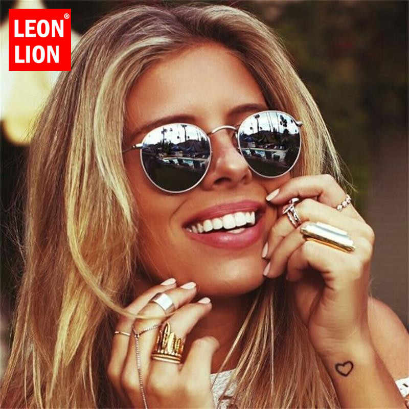 LeonLion 2019 Sunglasses Women/Men Brand Designer Glasses Lady Round Luxury Retro Sun Glasses Vintage Mirror Oculos De Sol Gafas