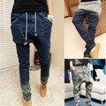 Низкая падение промежность крестики - брюки мужские деним джинсы хип-хоп Sarouel мужчины сталкивателем брюки мешковатые брюки без тары гаремные MHP017