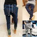 New 2015 Low Drop Crotch Cross-Pants Mens Denim Jeans Hip Hop Sarouel Men Jogger Pants Baggy Trousers Loose Harem Pant MHP017