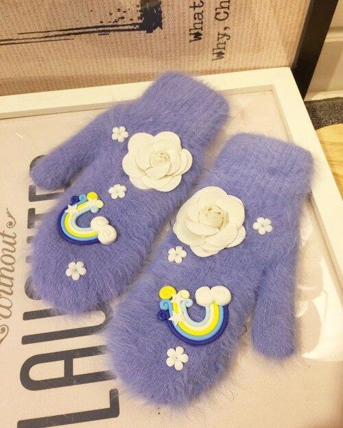 Кролик волос перчатки Зимняя женская обувь прекрасные даже двухэтажные утолщение держать пальцев вождения Перчатки