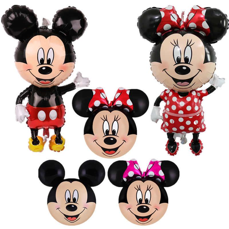 112 Cm Ulang Tahun Mickey Mouse Foil Balon Kartun Mickey Minnie Happy Pesta Ulang Tahun Bayi Shower Baloon Mainan