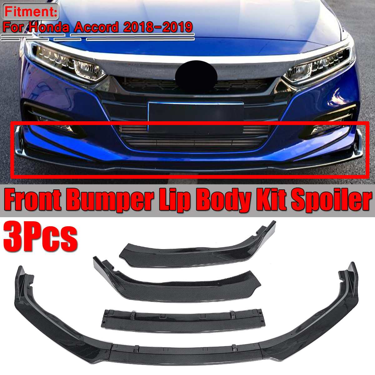 High Quality 3PCS Car Front Bumper Lip Chin Body Kit Spoiler For Honda For Accord 2018 2019 Front Bumper Lip Splitter Diffuser|Bumpers| |  - title=
