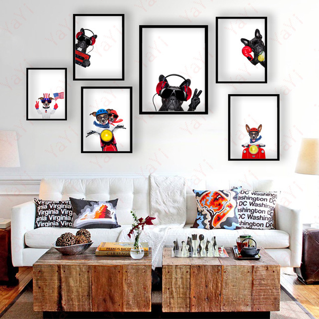 HAOCHU leuke puppy hond cartoon leven woondecoratie canvas ...