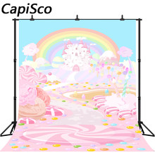 Capisco Rainbow Pink candy castle Baby shower Photography Backgrounds Birthday party Photographic Backdrops For Photo Studio(China)