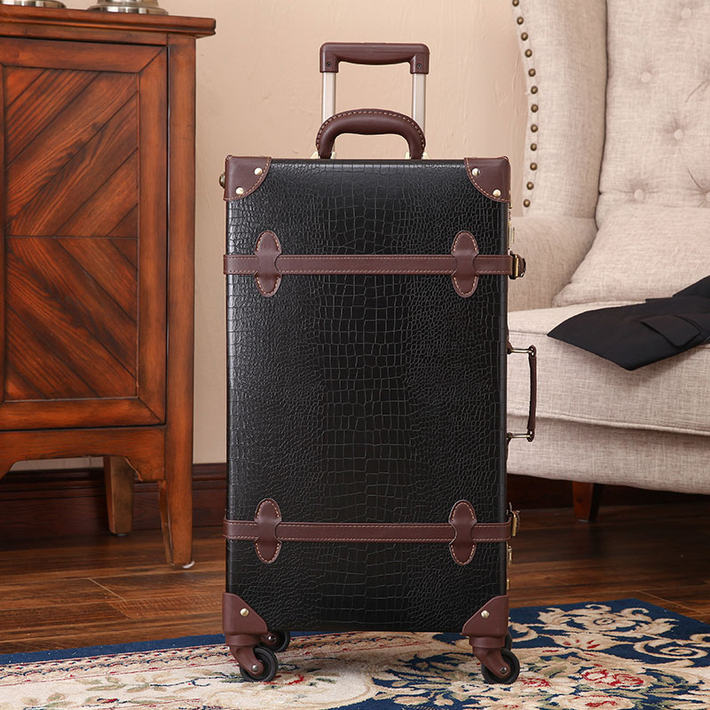 2018 new retro Crocodile skin leather luggage bag brown and black suitcase 2024 genuine leather high quality free shipping