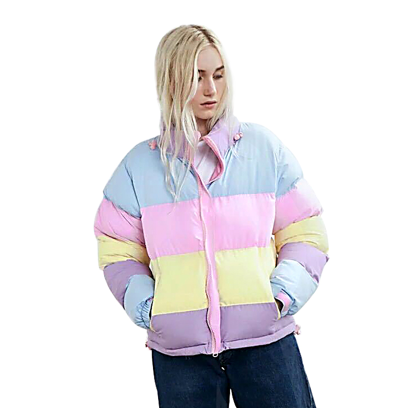 2018 Ladies Fashion England Winter Jacket Hooded Makaron Stitch Parkas High Quality Short Cotton Padded Coat