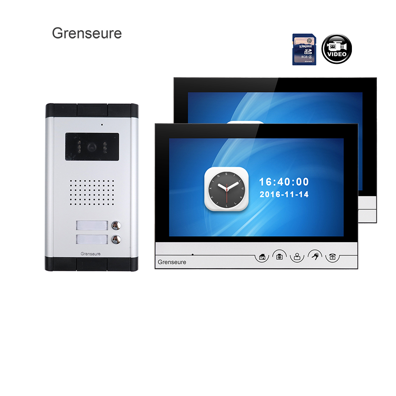 NEW Apartment 9 Color Video Door Phone Intercom System + 2 Recording Screen + Outdoor Doorbell Camera for 2 House FREE SHIPPING brand new apartment intercom 2 monitor wired 7 inch hd color touchkey video door phone intercom system for 2 house free shipping