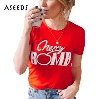 Kawaii Cherry Bomb Letter Print T Shirt 2017 Summer Short Sleeve Red T Shirt Harajuku O