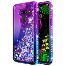 For LG G8 ThinQ Case lovely  quicksand Bling cute Sequin Glitter Diamond Hard Clear Back Shockproof anti-drop Cover
