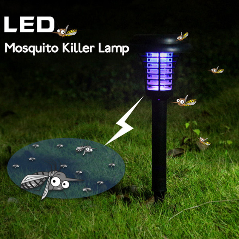 Solar LED Mosquito Repellent Killer Lamp Outdoor Mosquito Pest Fly Bug Insect Zapper Killer Trap Lamp For Garden Yard Lawn