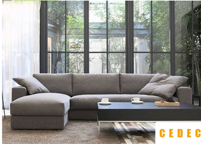 Online Shop (1 chaise lounge +2 seat)modern linen chinese sofa set ...