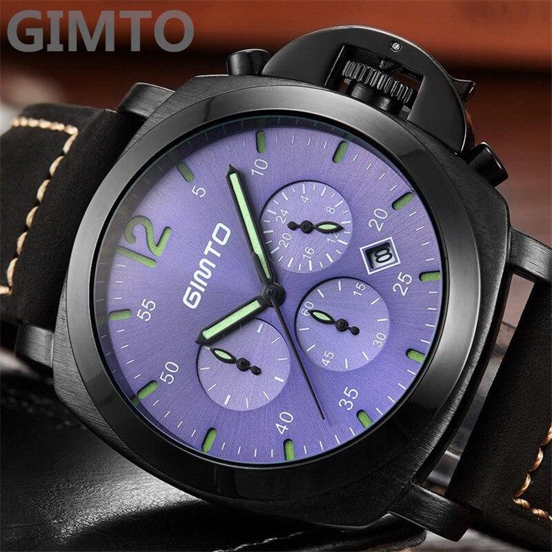 New GIMTO Male Luxury Brand Quartz Watch Men Military Sport Watch Genuine Leather Men's wristwatches