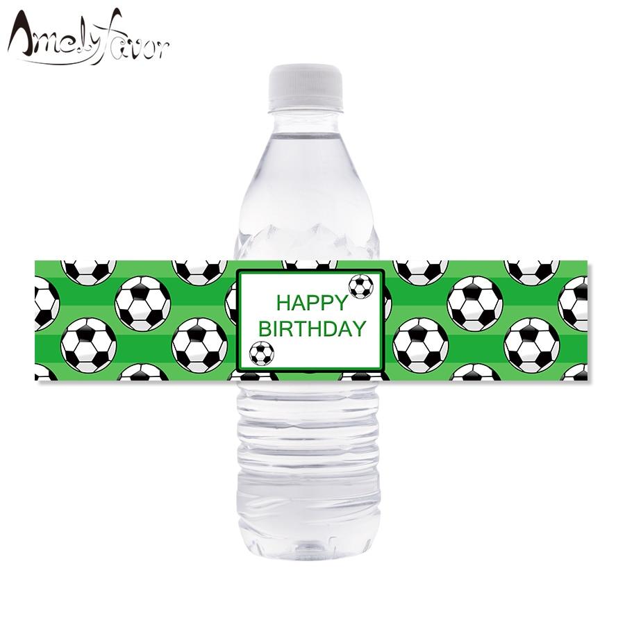 Этикетки для бутылок с водой для футбольной вечеринки, спортивные этикетки для бутылок с водой, детские украшения для дня рождения и вечерн...