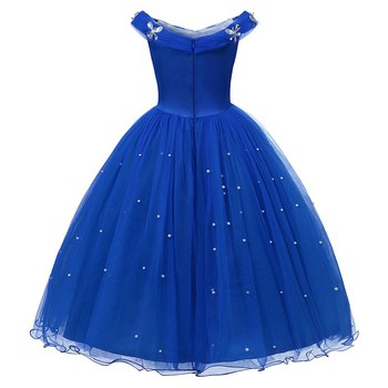 Princess Cinderella Dress up Clothes Girl Off Shoulder Pageant Ball Gown Kids Deluxe Fluffy Bead Halloween Party Costume 1