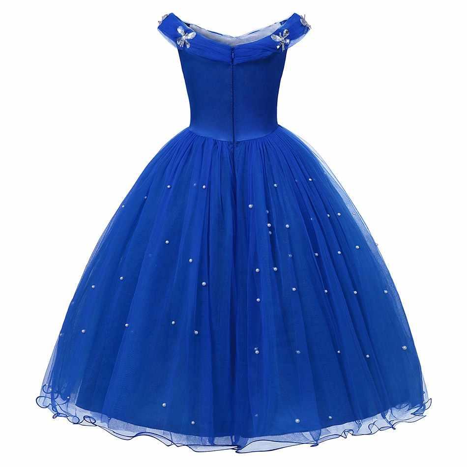 VOGUEON סינדרלה נסיכת תלבושות לילדה תחרות כדור שמלת ילדים כבויה כתף חרוזים טול להתלבש ליל כל הקדושים יום הולדת בגדים
