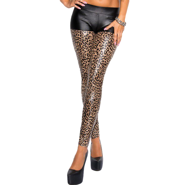 e55a3fed2bc Sexy leggings womens leopard leggings print skinny broek hoge elastische  stretch broek vrouwelijke summer lente kunstleer