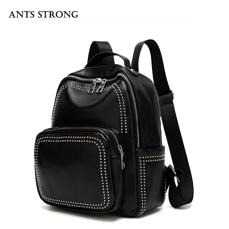 ANTS STRONG Simple women s shoulder bag Fashion rivets black backpack Female students schoolbag