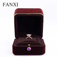 2017 New Design Wine Red With Metal Side Design Ring Box Custom Gift Box