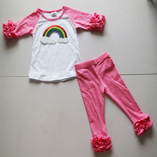 rainbow icing 3 4 sleeve shirts set children fall spring outwear icing leggings pants set wholesale