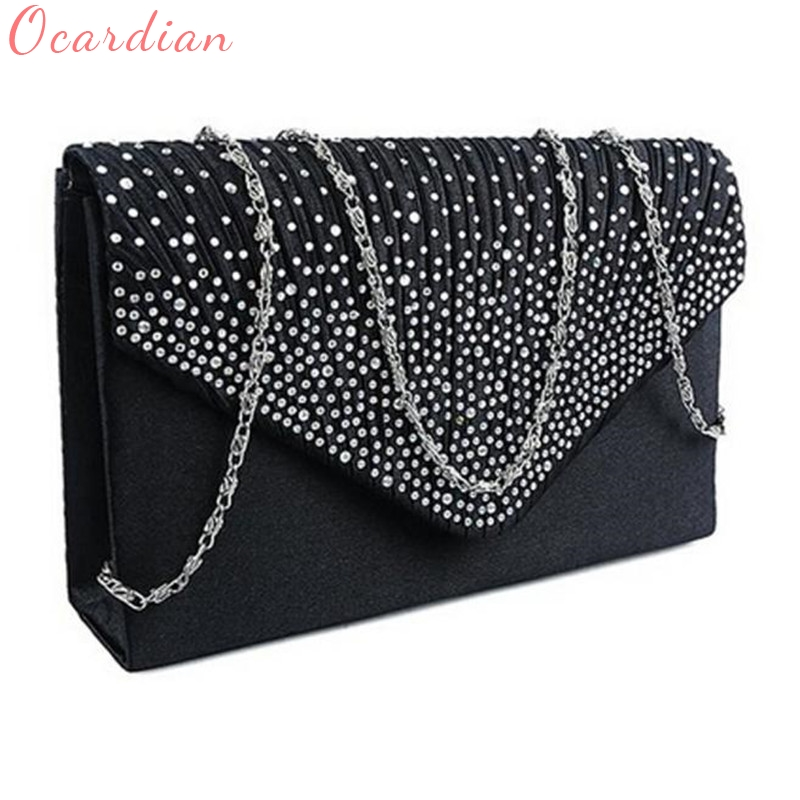 e58acb821f Ocardian NEW Popular Fashion Ladies Large Evening Satin Diamante Ladies  Clutch Bag Party Envelope Bag Dropship  0725