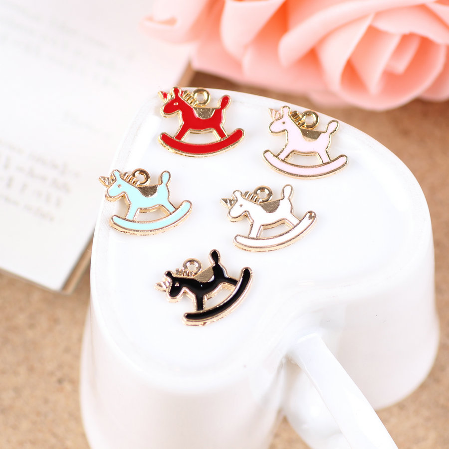 New Arrival 20PCS Cockhorse Toy Animal Horse Enamel DIY Jewelry Floating Charms Gold Tone Drop Oil Bracelet Alloy Charm 14*16mm