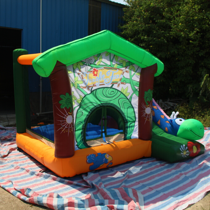 2014 newest  mini combo jumping and slide jungle theme bouncer free shipping wonderful for small kids inflatable toy new design inflatable slide jumper combo bouncer for chrilren