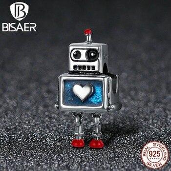 BISAER 925 Sterling Silver Bonito Do Amor Do Coração do Robô, Me Deixe Te Ajudar Beads Fit Encantos Pulseira 925 Jóias de Prata Original