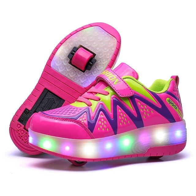 0e69fd7ae 2019 brillante zapatillas ruedas para niñas impermeable luminoso de deporte  con retroiluminación niños calzado luz Led zapatos niña
