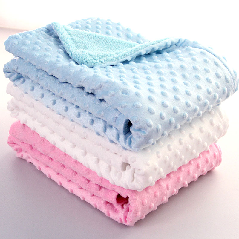 Baby Blanket Swaddling Bedding-Set Quilt Fleece Newborn Cotton Solid Soft