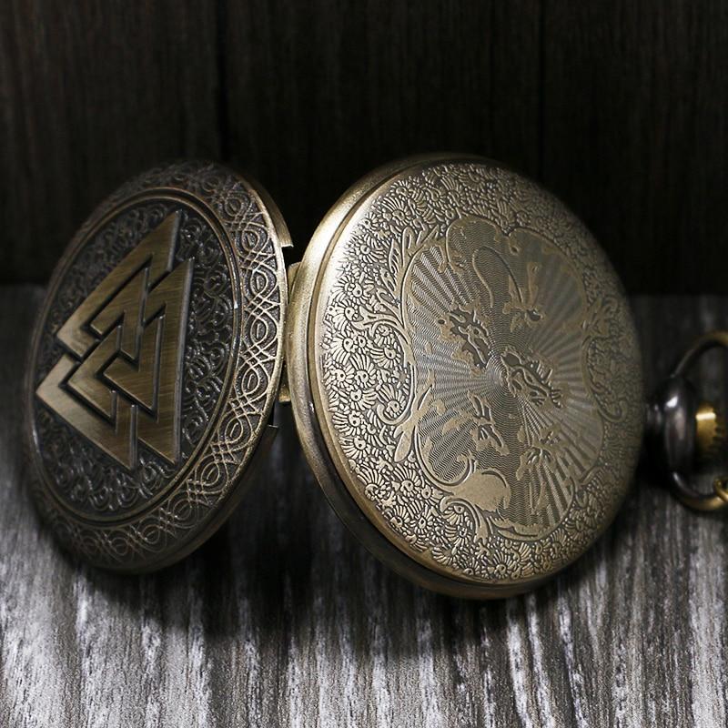Vintage Triangle Valknut Norse Vikings Brons Quartz Fickur Halsband - Fickur - Foto 4