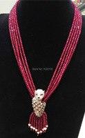 5 reihen rosa rot steinperlen roundel faceted 4*2mm halskette natur perlen großhandel 19 verschluss FPPJ