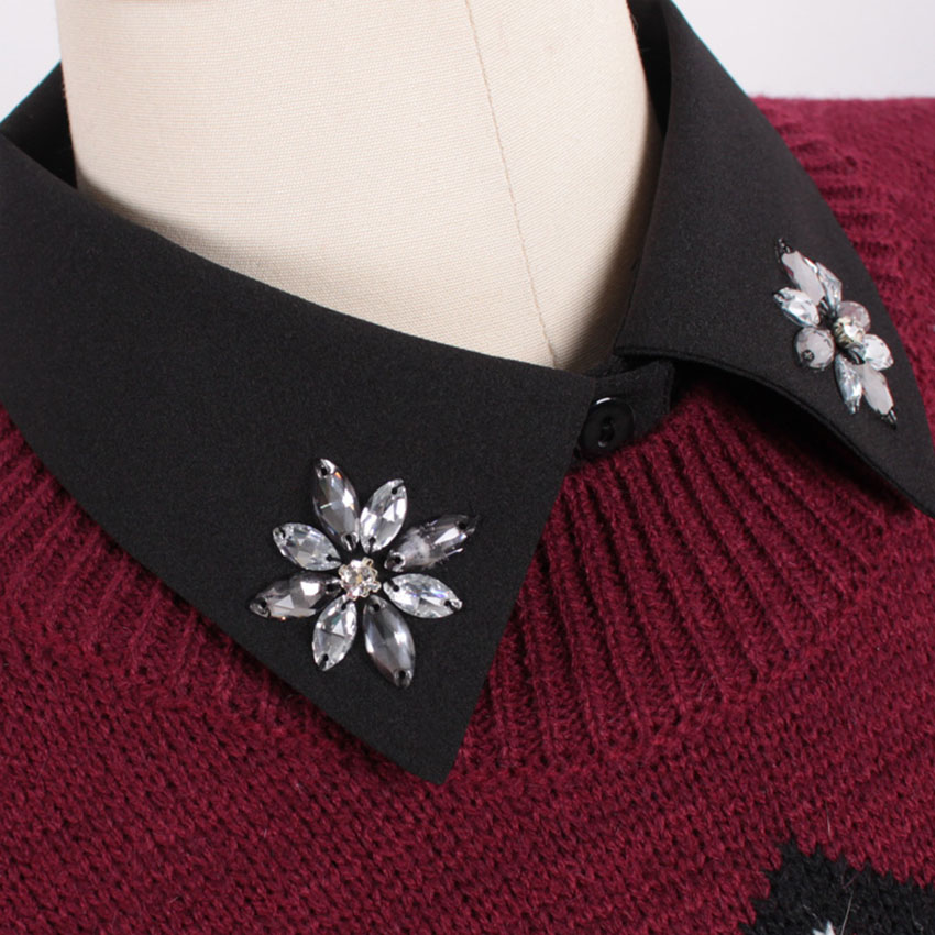 High quality Fashion Detachable Collars Diamond Crystal Korean Detachable Shirt Sweater Fake Collar Women Clothes Accessories