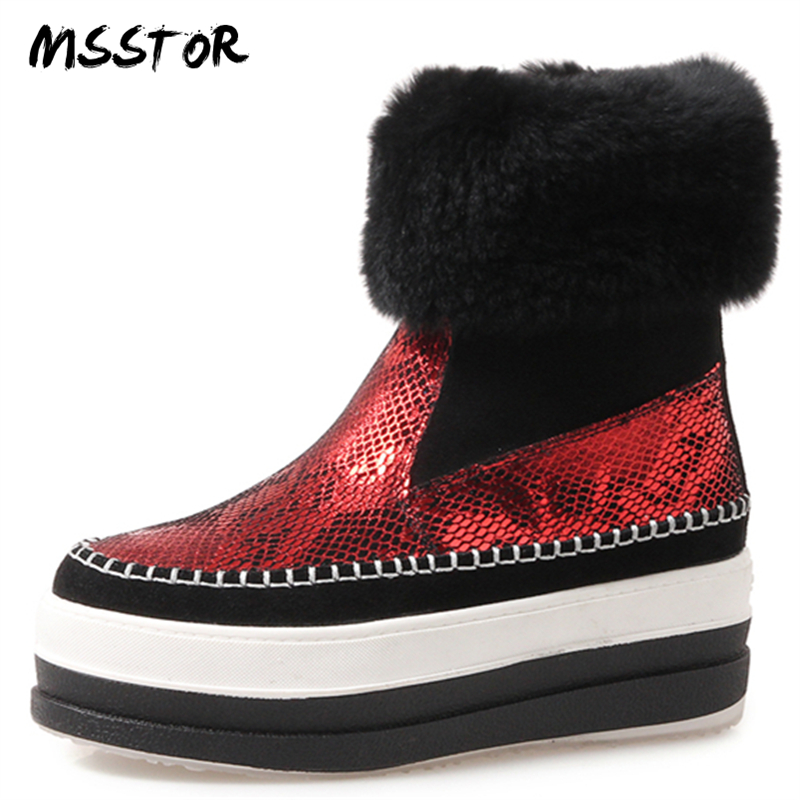 Femmes Mode forme on Bottes Suede Hiver Cales Rouges Couleurs Rond Plate Msstor rouge Mélangées Kid Slip Casual Bout Or Chaussures Fourrure De Or OqwxIn8