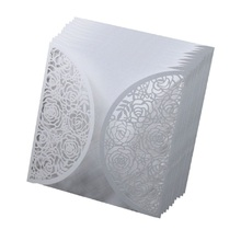 100pcs White Laser Cut Wedding Invitations Cover Lace Hollow Flower Design Greeting Cards Invites  Party Favors