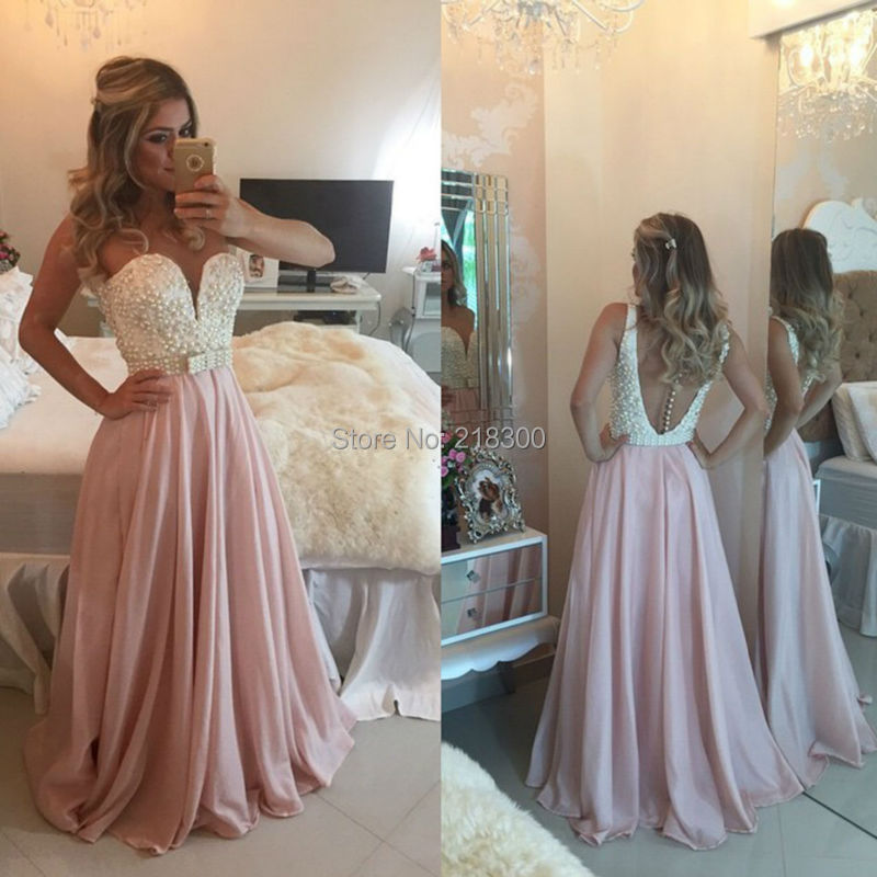 Dusty Rose Prom Dresses Backless Dress Pearls White Pageant In From Weddings Events On Aliexpress