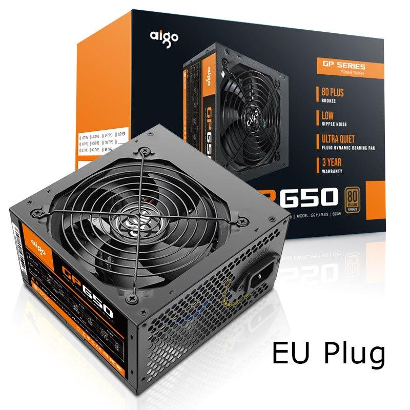 Aigo 650W Computer Power Supply ATX mini psu itx 80 plus Bronze EU Plug Active Flex
