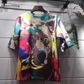 УИТНИ ВАН Летняя Мода Цвета Собака Печати Негабаритных футболка женщины Повседневная Свободные Тройника tumblr harajuku Топы Плюс Размер