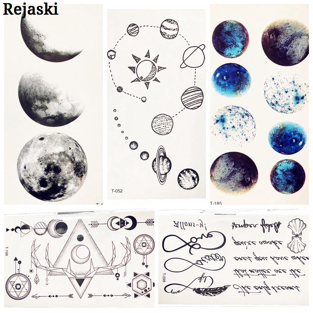 Cute Cosmos Temporary Tattoo Sticker For Children Body Art Fake Black Water Transfer Tattoo Universe Planet Pattern Tatoos Women