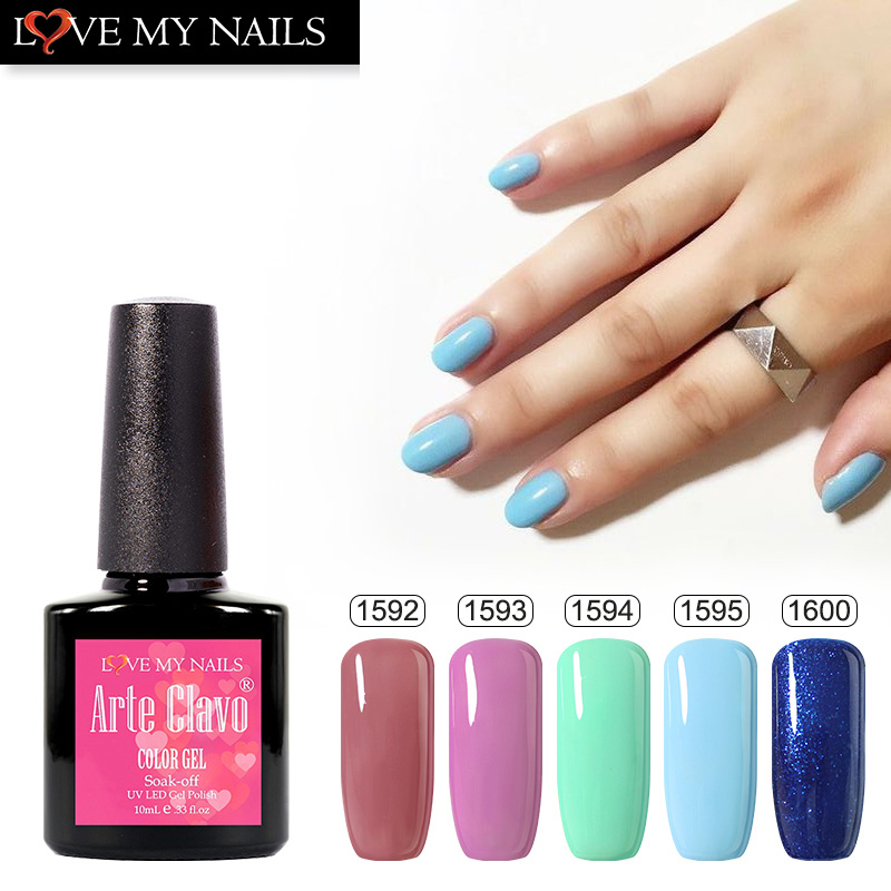 Arte Clavo UV Gel Nail Polish Bling Glitter Sky Light Powderblue Color Coat Need Top Coat UV Gel Nail Polish Long Lasting Gels