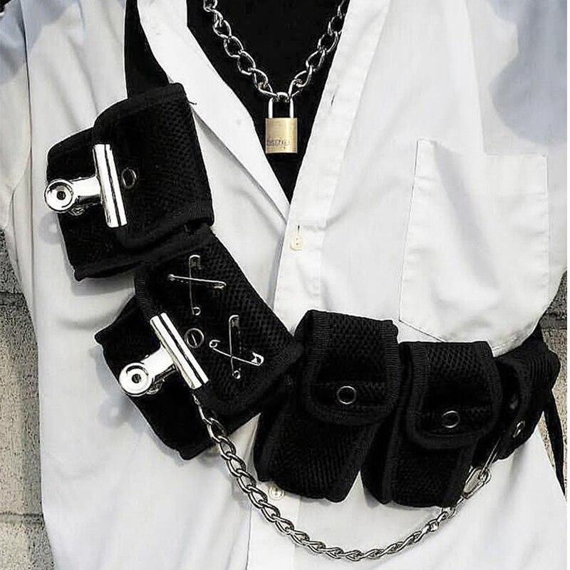 Hip Hop Chest Bag For Unisex Black Fashion Streetwear Chest Rig Fanny Pack Multi-pocket Travel Phone Belt Bag Pouch Waist Packs