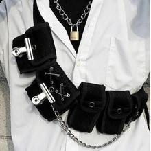 Hip Hop Chest Bag for Unisex Black Fashion Streetwear Rig Fanny Pack Multi-pocket Travel Phone Belt Pouch Waist Packs