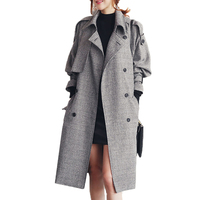 Women Coats Winter Trench Coat Material Polyester Fashion Plaid Double Breasted Overcoat Turn Down Collar Slim