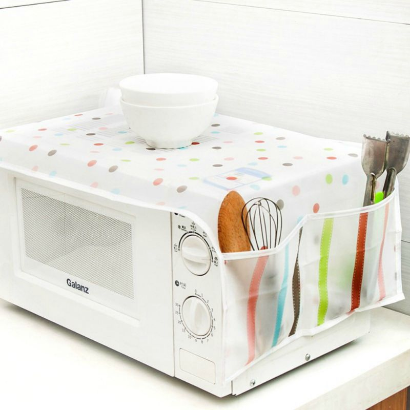 Microwave Oven Anti Dust Cover Oil-proof Waterproof Protector Cover Double Pockets